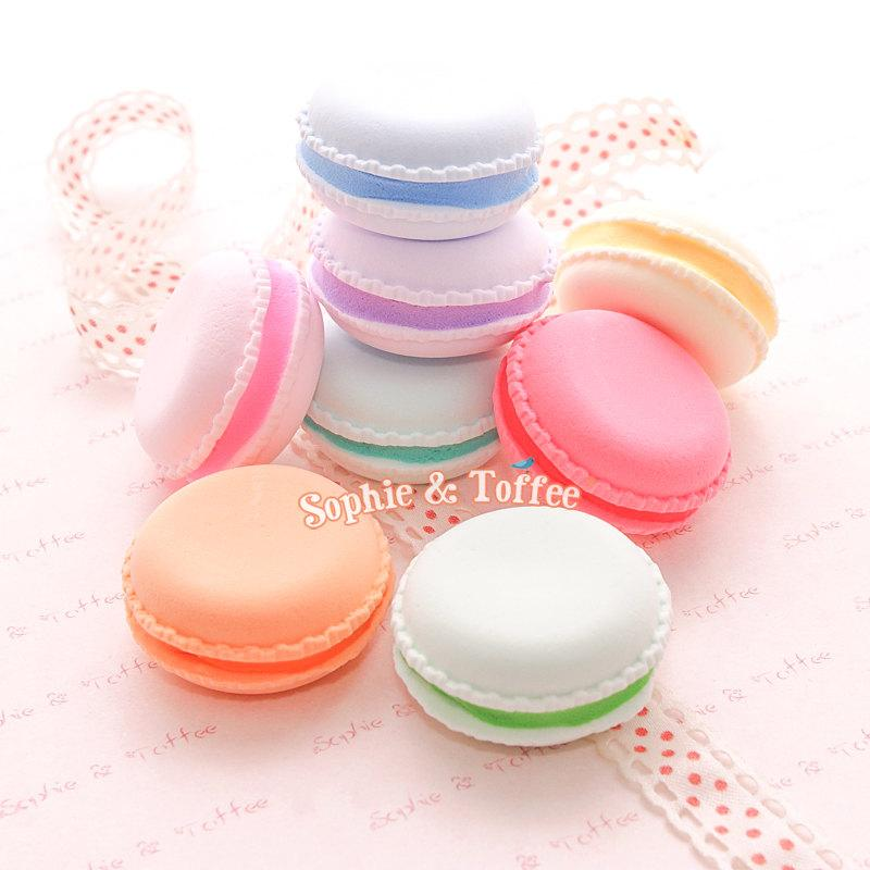 Wedding - Handmade Light-Weight Clay Fake Macaron (Colourful Filling) - 7pc