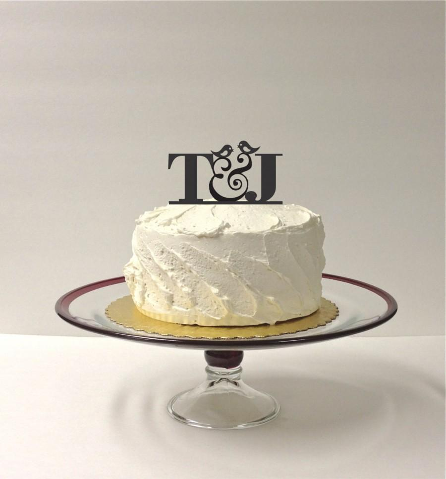 Свадьба - MONOGRAM Wedding Cake Topper INITIALS Bird Design Personalized Wedding Cake Topper with Any 2 Initials of Your Choice Custom Monogram Topper