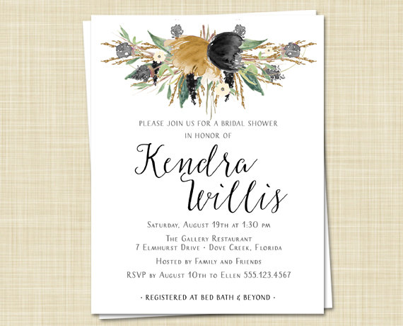 20 bridal shower invitations autumn winter watercolor flower printed