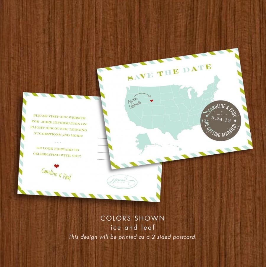 Hochzeit - Vintage Postcard Save the Date - JPress Designs, map, wedding, destination, travel, modern, clean, original, popular, stamp, USA, colorful