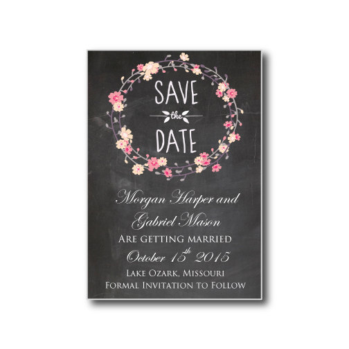 Hochzeit - Chalkboard Save-the-Date Card - Flower Bouquet - Floral Wedding - Instant Download - EDITABLE TEXT - Microsoft Word Format