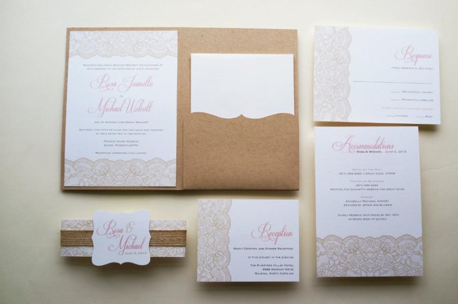 Hochzeit - Rustic Wedding Invitation, Pink Lace Wedding Invitation  - Sample