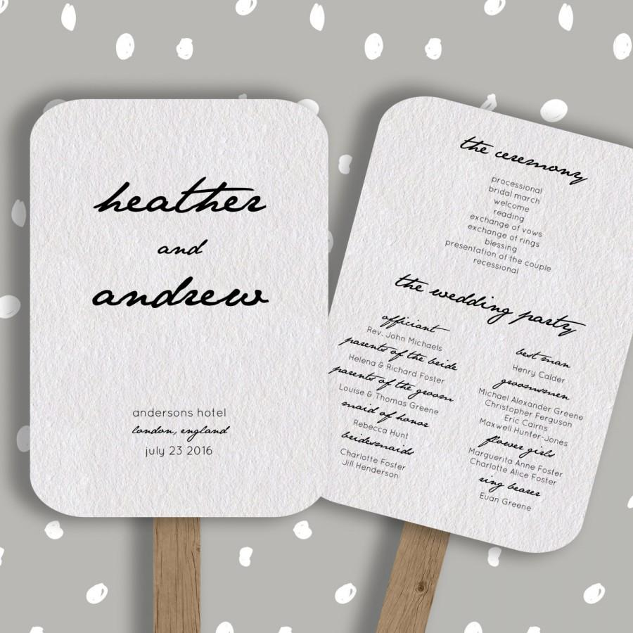 Wedding program fan template editable in word diy printable order of service 5x7 2435897 for Diy wedding program fan template