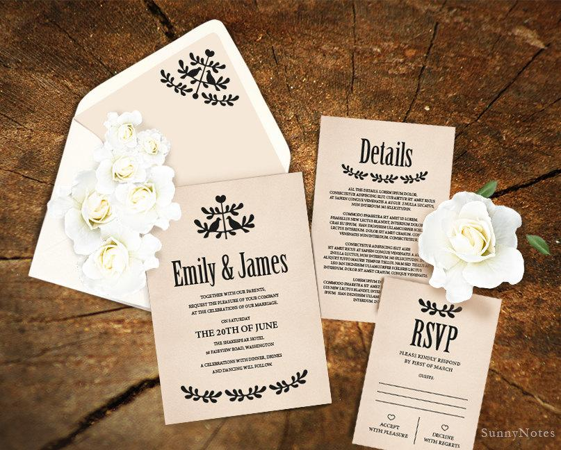 Editable Rustic Wedding Invitation Template. Printable Wedding