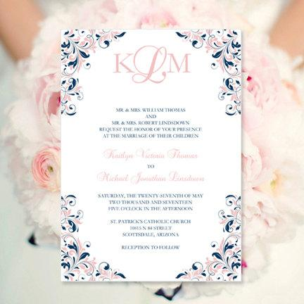 blush pink navy wedding invitation kaitlyn printable template make your own invitations all colors av instant d worddoc diy u print - Navy And Blush Wedding Invitations