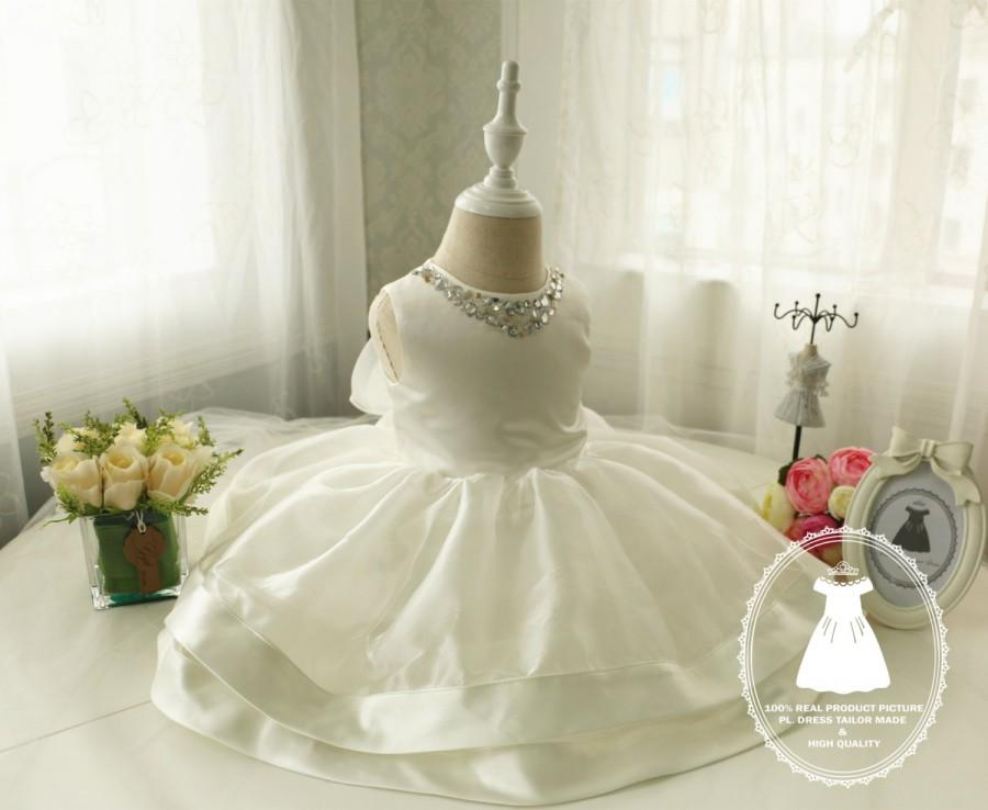 Wedding - Ivory Girl Pageant Dress, Baby Birthday Dress PD023