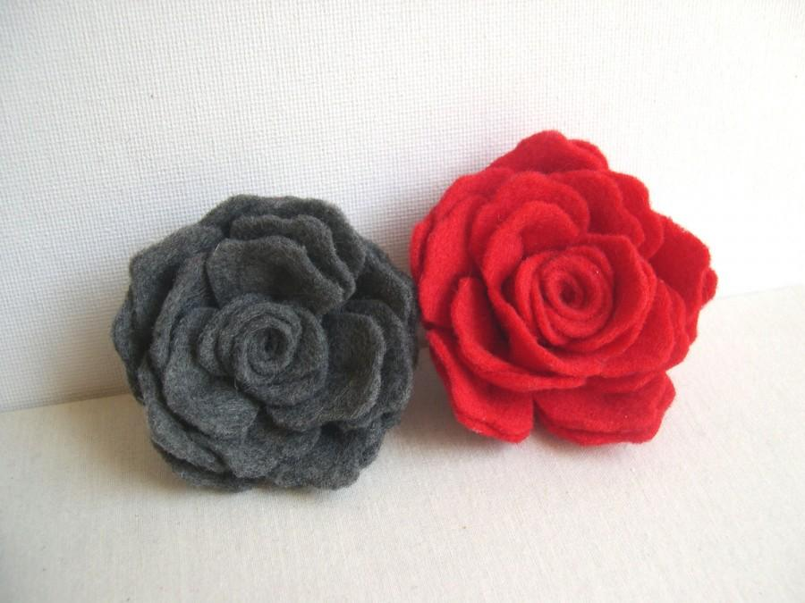 Grey Or Red Rose Flower Pin
