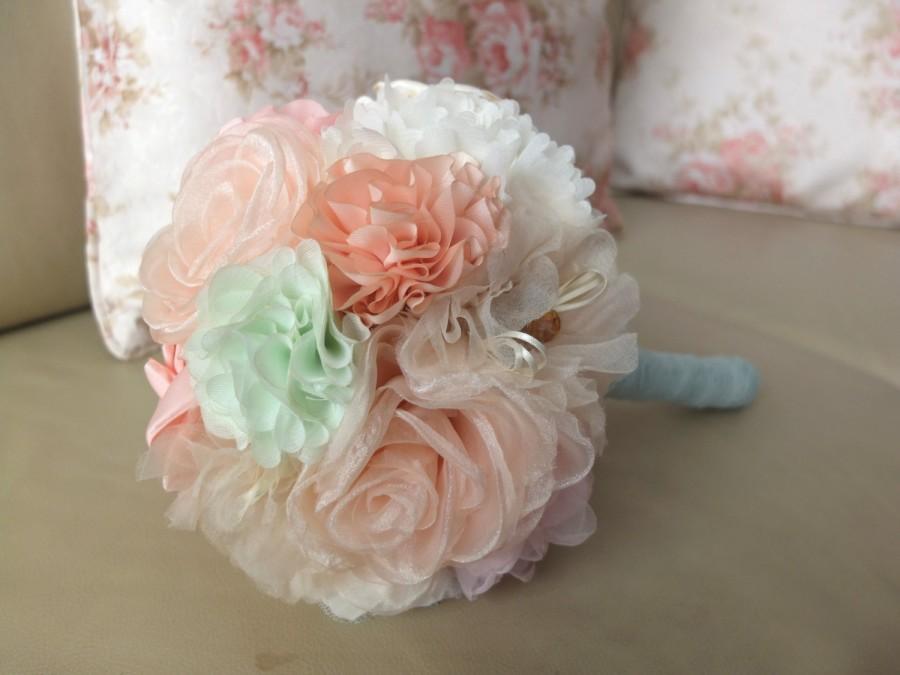 Wedding - Shabby Chic Fabric Flower Bouquet- Peach, Mint and Ivory Fabric Flower Bouquet