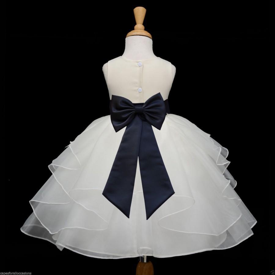 زفاف - Ivory Organza Flower Girl Dress tiebow sash pageant wedding bridal easter sash bridesmaid toddler 6-9m 12-18m 2 4 6 6x 8 9 10 12