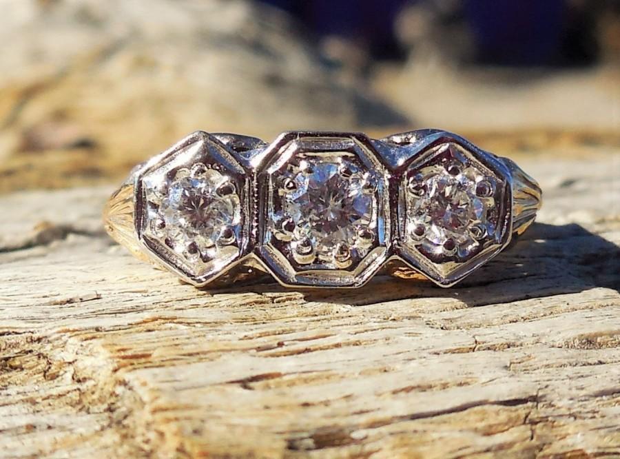 Hochzeit - Vintage Antique .60ct Old European Cut Diamond Unique Engagement Ring 1920's Art Deco 14k White & Yellow Gold Three Stone Ring