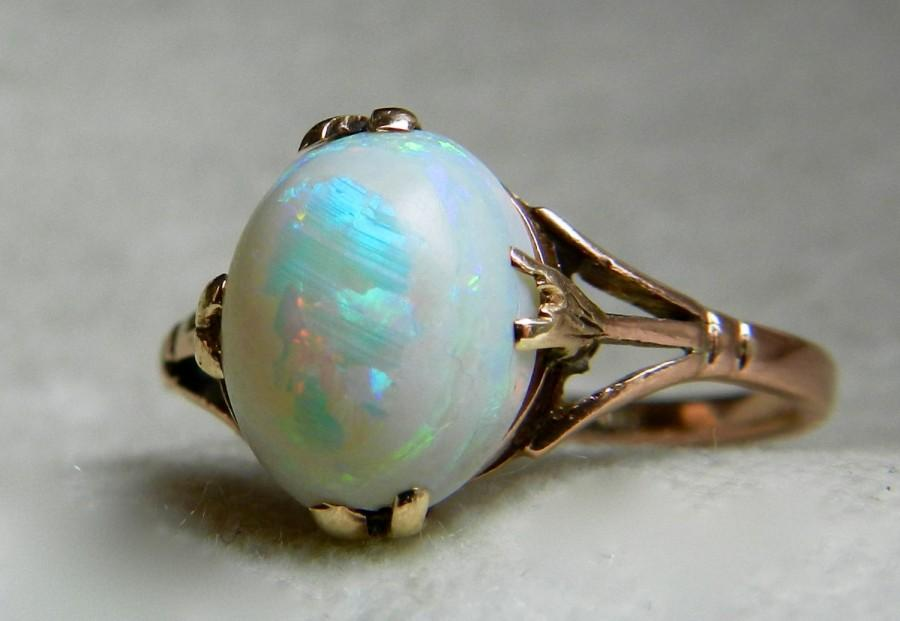 Свадьба - Opal Ring 1.75 Ct Opal Engagement Ring 1920s Rose Gold Art Deco Australian Opal Engagement Ring Unique Engagement Gold October