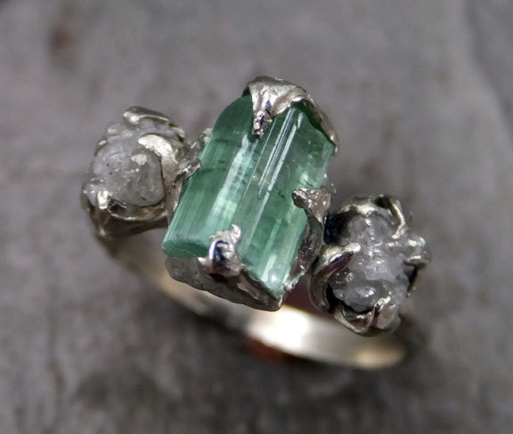 raw sea green tourmaline diamond white gold engagement ring wedding ring one of a kind gemstone ring bespoke three stone ring byangeline - One Of A Kind Wedding Rings