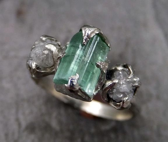 Свадьба - Raw sea green Tourmaline Diamond White Gold Engagement Ring Wedding Ring One Of a Kind Gemstone Ring Bespoke Three stone Ring byAngeline