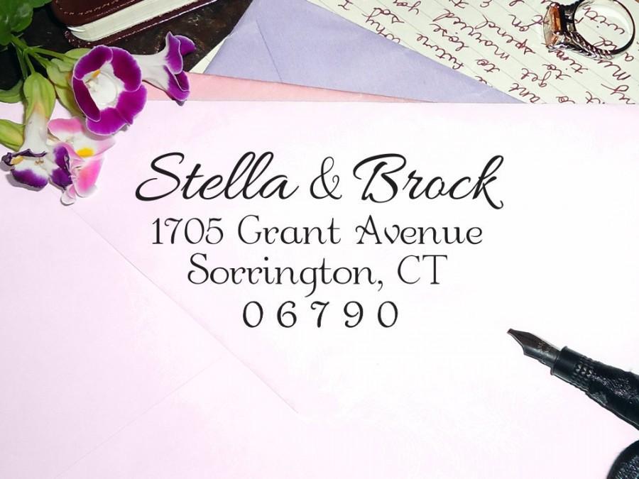 Hochzeit - Custom Address Stamp, Return Address Stamp, Wedding Stamp, Custom Rubber Stamp, Personalized Stamp, Self Inking Stamp, Calligraphy AS1