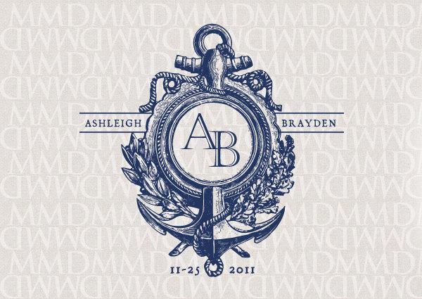 Anchor Nautical Custom Wedding Monogram - Wedding Logo ...