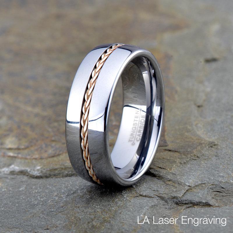 Свадьба - Tungsten Wedding Band, Tungsten Wedding Ring, Domed, Silver Braid inlay,Tungsten Carbide, Anniversary Ring, Engagement Band, Braided, 8mm