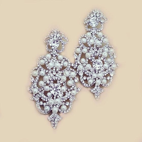 Wedding - Bridal Statement Earrings Victorian Style Chandelier Wedding Earrings Ivory Pearl Large Crystal Bridal Jewelry Bridal Earrings Pearl Earring