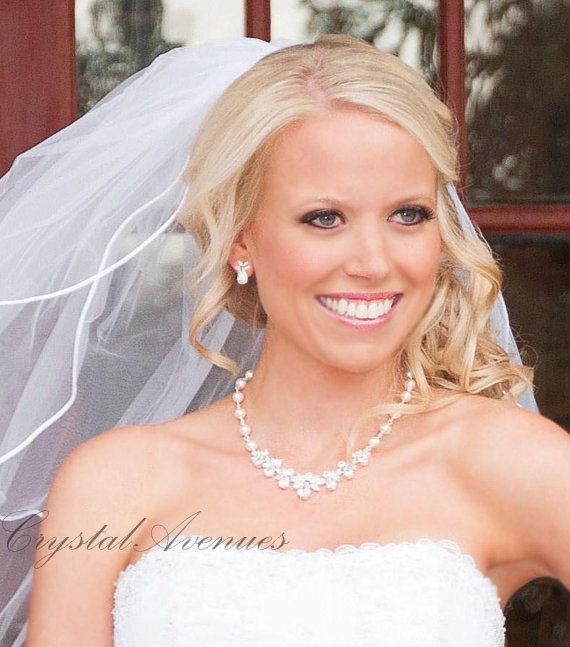 Wedding - Bridal Jewelry Pearl Wedding Necklace Bridal earrings Swarovski Crystal rhinestone Swarovski Pearl,  Wedding jewelry, Claire Set