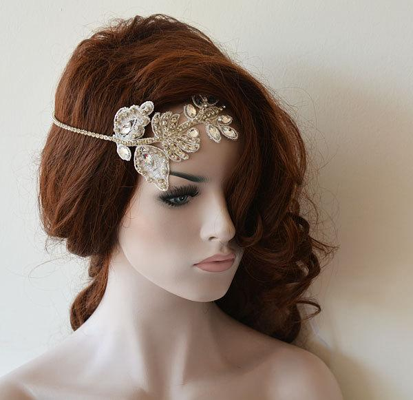 Свадьба - Wedding Hair Accessories, Bridal Headband, Wedding Headband, Rhinestone and Lace Headband, Wedding Headpiece, Bridal Hair Accessories