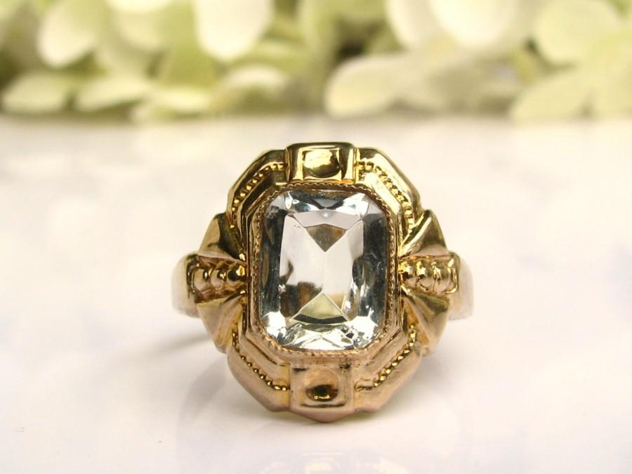 Свадьба - Art Deco Engagement Ring OB Ostby Barton Historical Ring 1.06ct White Glass Antique Engagement Ring 10K Yellow Gold Promise Ring