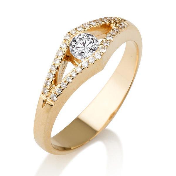 Mariage - Split Shank Engagement Ring, Diamond Ring, 14K Gold Ring, Vintage Split Shank Ring, 0.34 TCW Diamond Engagement Ring