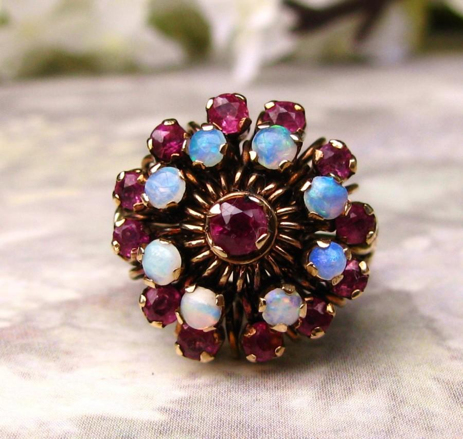 Mariage - Vintage Opal & Ruby Engagement Ring 14K Yellow Gold Floral Princess Ring Vintage Harem Style Wedding Ring Unique Engagement Bridal Jewelry!