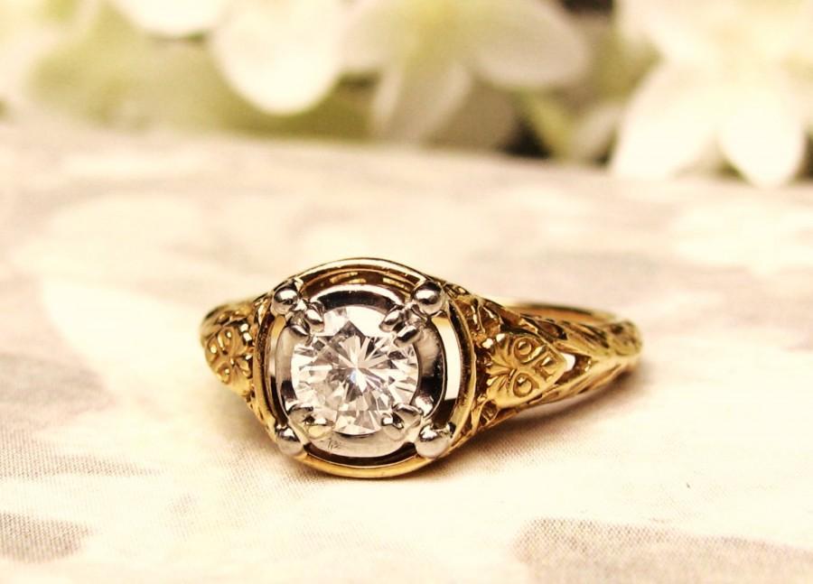 Mariage - Vintage Engagement Ring Jabel Art Deco Style Ring 0.50ct Diamond Wedding Ring 18K Gold Filigree Ring Jabel Vintage Bridal Jewelry Size 6!