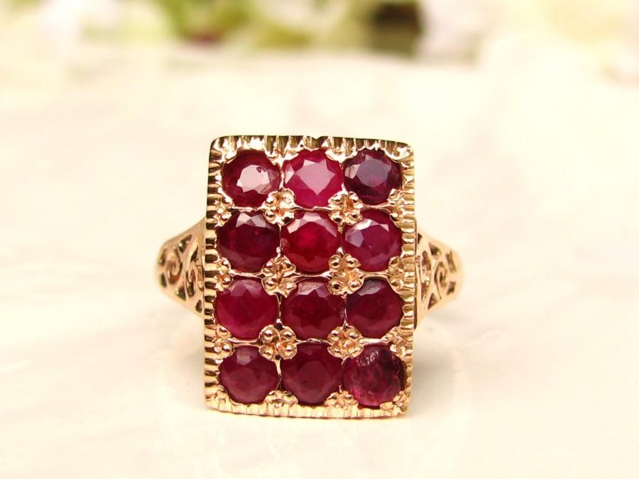 Mariage - Vintage Ruby & Spinel Alternative Engagement Ring 14K Gold Filigree Wedding Ring Floral Art Deco Ruby Ring Size 6!