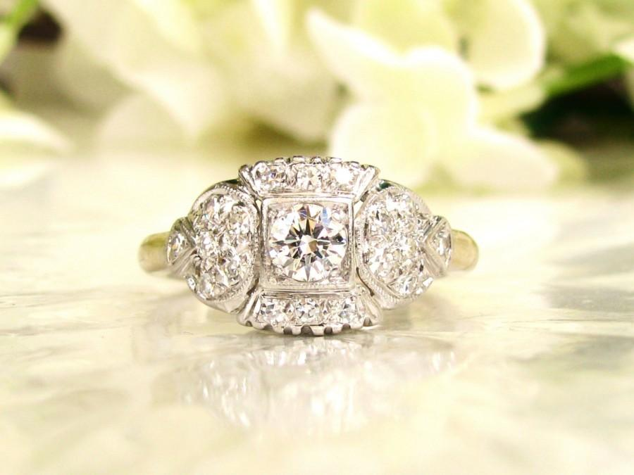 Mariage - Art Deco Engagement Ring 0.68ctw Diamond Platinum & 14K White Gold Transitional Cut Antique Engagement Ring Adjustable Band with Appraisal!