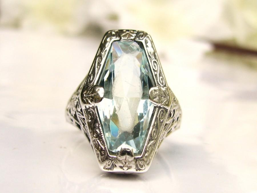 Mariage - Antique Engagement Ring Fancy Cut Blue Aqua Glass Ring 10K White Gold Filigree Edwardian Engagement Ring Antique Wedding Ring!