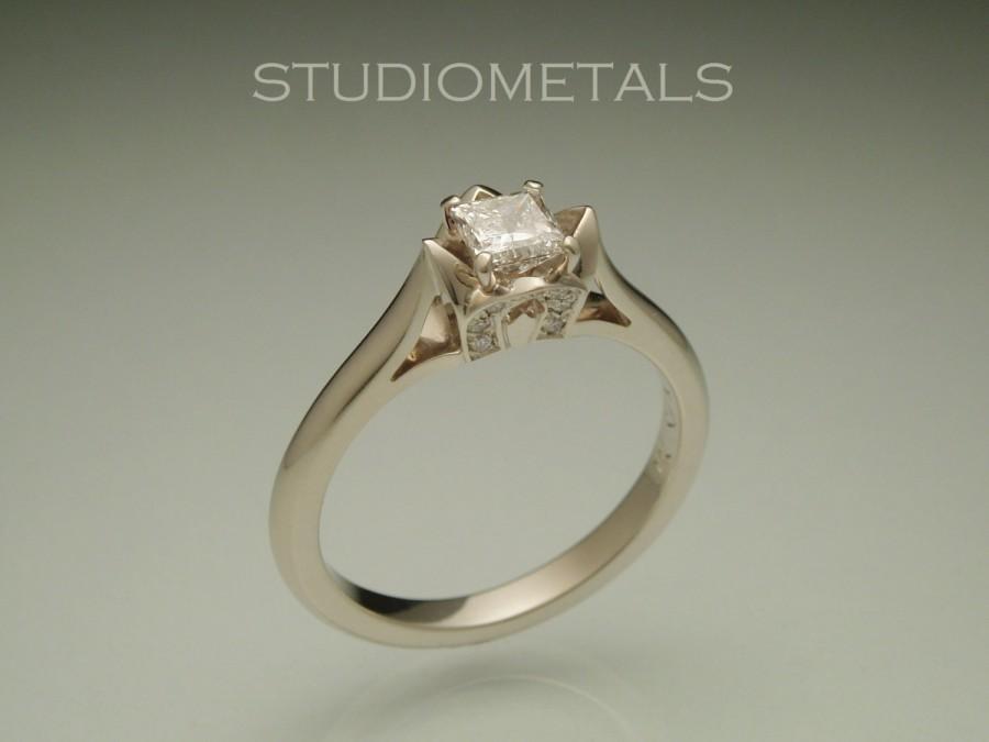Hochzeit - Lotus Ring, Diamond Engagement Ring, Princess Cut Diamond, .5 Carat Engagement Ring, R525