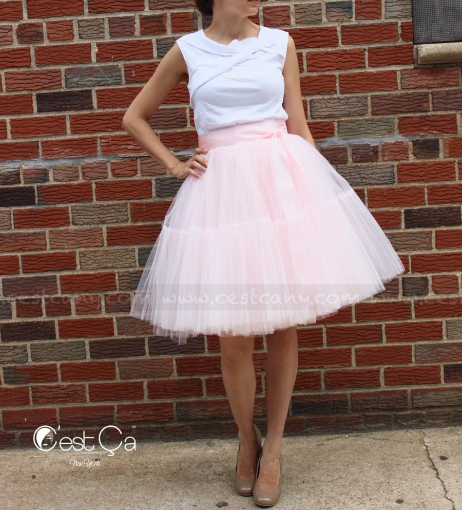 Mariage - Beatrice - Blush Pink Tulle Skirt, Extra Puffy Tutu, Princess Tulle Skirt, Adult Tutu, Plus Size Tulle Skirt, Tiered Tulle Skirt