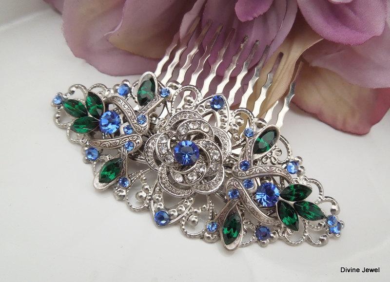 Hochzeit - Victorian Style Hair Comb,Bridal Rhinestone Hair Comb,Rose Hair Comb,Something Blue Hair Comb,Peacock Hair Comb,Wedding Hair Piece,ROSELANI