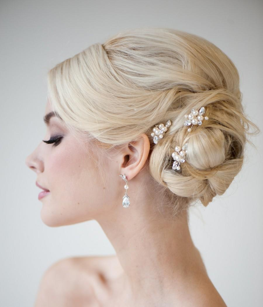 Wedding - Bridal Hair Pins, Wedding Hair Pins, Swarovski Hair Pins, Pearl Hair Pins - DIANNE