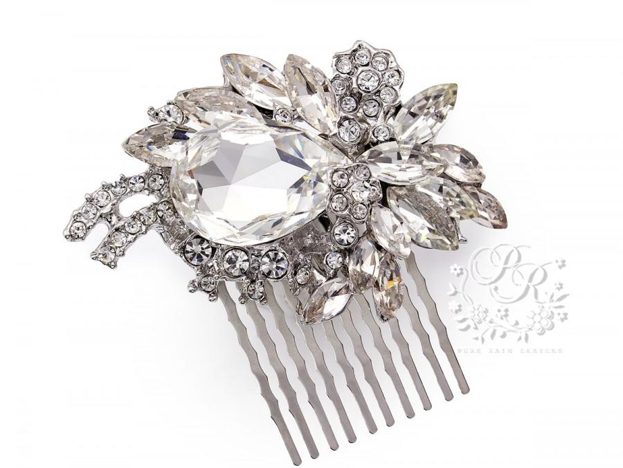 Свадьба - Wedding Hair Comb Swarovski Crystal Rhinestone Hair Comb Bridal Hair Comb Wedding Jewelry Hair Accessory Bridal Jewelry Bridesmaid Gift Mar