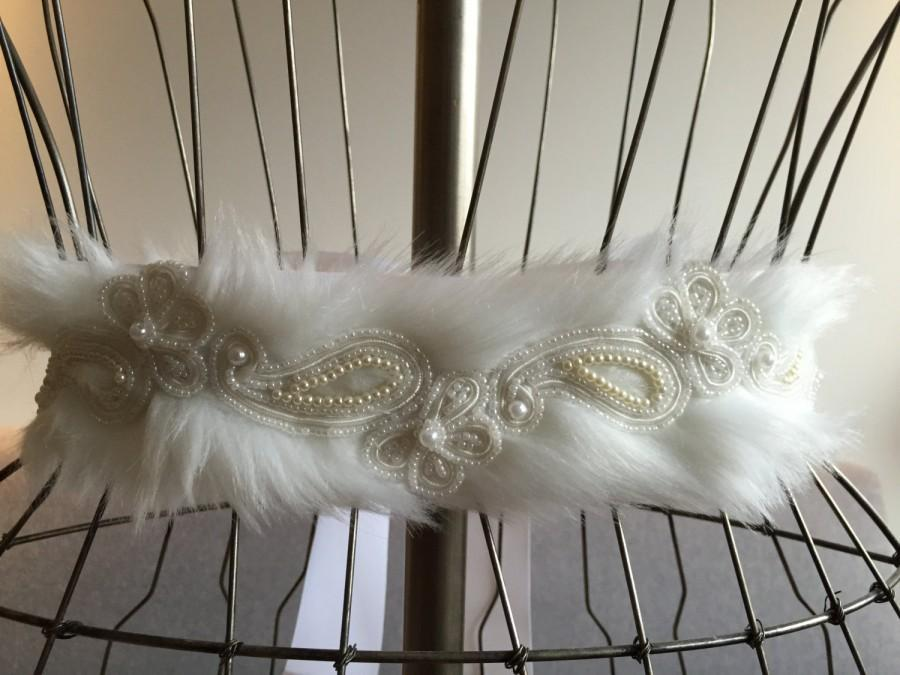 "Wedding - SALE: Flora Beaded Lace Embellished Belt with Faux Fur // BRIGHT WHITE // 2.25"" Wide Grosgrain Ribbon"