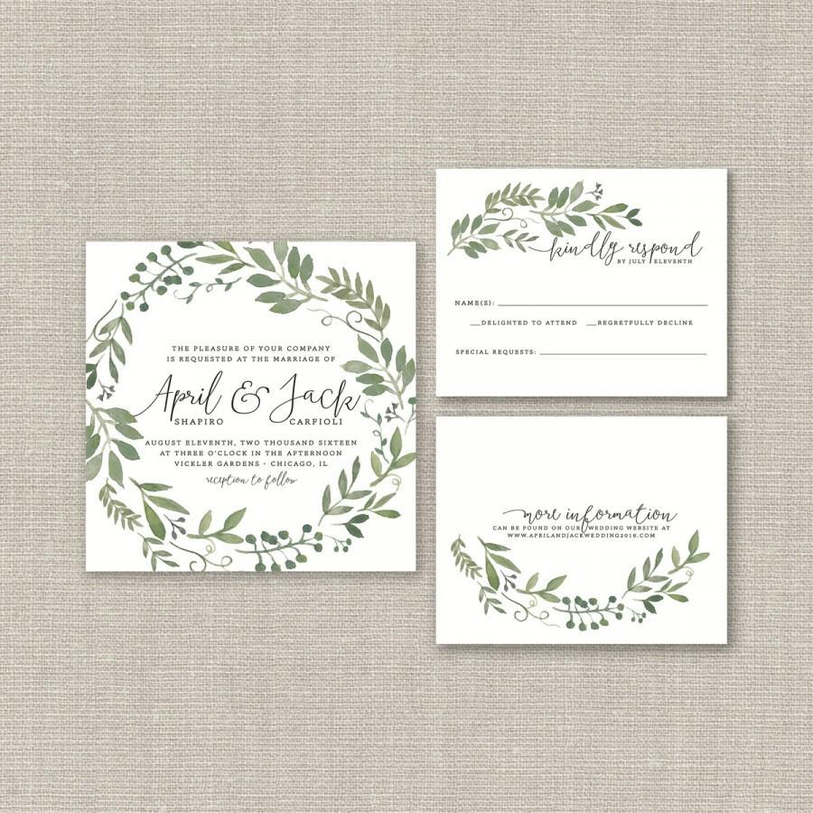 Wedding Invitation Suite DEPOSIT, DIY, Rustic, Woodland, Bohemian ...