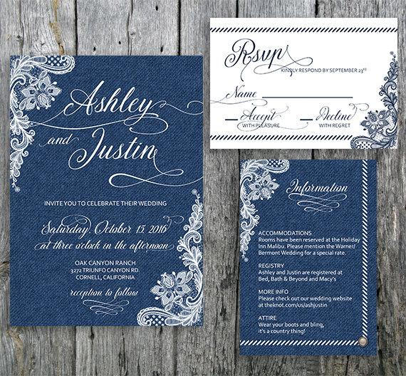 Mariage - Country Chic Wedding Invitation Suite Denim and Lace - Invitation, RSVP and Information Card