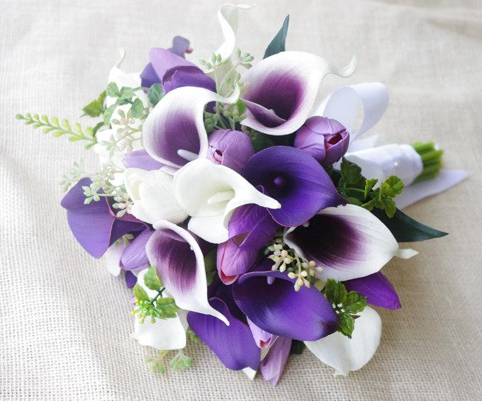 Mariage - Wedding Bouquet Off White and Purple Heart Tulips and Calla Lilies Silk Flower Bride Bouquet - Almost Fresh