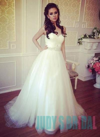 JOL315 Simple Cheap Sweetheart Neck Tulle Ball Gown