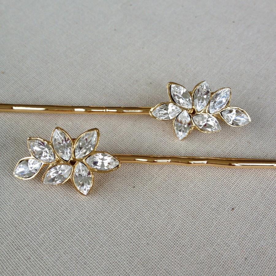 Свадьба - Swarovski Crystal, rhinestone leaf, bobby pin, jewelry, gold, rustic, wedding, hair slide, bridesmaid, gift, Downton Abbey, bridal, hair pin