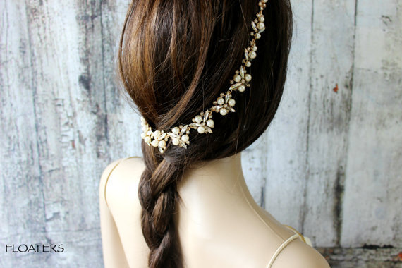 Свадьба - Gold Headpiece, Bridal Hair Jewelry, Wedding Head Piece, Gold Headband