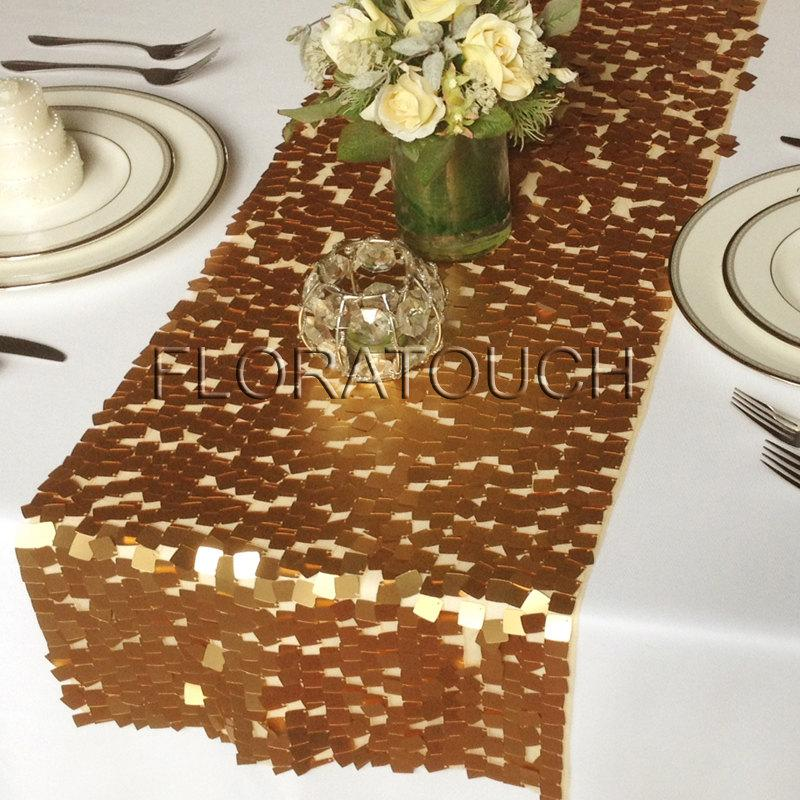 Mariage - Gold Dazzle Square Sequin Table Runner Wedding Table Runner