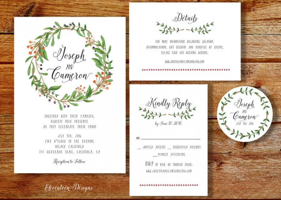 image relating to Printable Wedding Invitation Kits known as Wreath Wedding day Invitation Printable, Printable Wedding ceremony