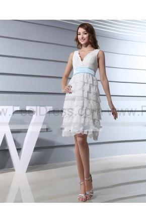 Wedding - V Neck Lace Tiered White 2013 Wedding Dress