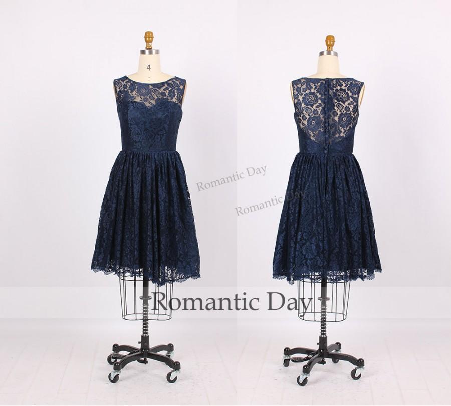 Свадьба - Hot Sale Navy Illusion Neckline See Through Back short Lace Bridesmaid Dresses/Navy Bridesmaid Dress/Lace Dress for Beach Wedding 0221