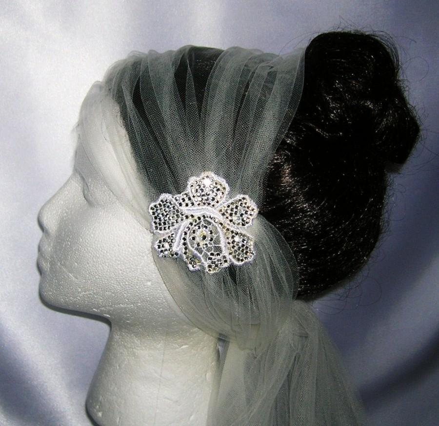 "Mariage - Ivory Bridal Veil With Handset Crystal Applique, Versatile ""Tie"" Styling, Slightly Flapper Style, THE LENORE"