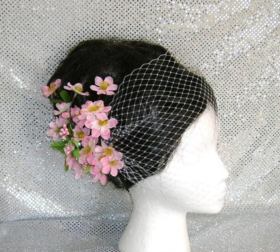 Mariage - Bandeau Style Birdcage Veil With SAKURA Cherry Blossom Bridal Hair Fascinator