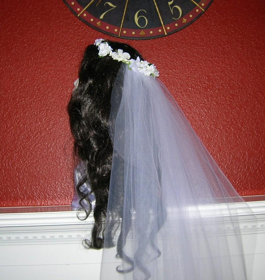 Mariage - Bridal Floral Hair Wreath With Attached Waltz Length Veil, 100% HANDMADE, THE KATHERINE