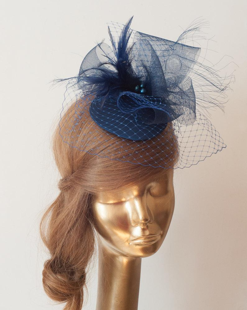 Navy Blue FASCINATOR With BIRDCAGE VEIL Wedding Mini Hat With Veil ... 7d325cd4739